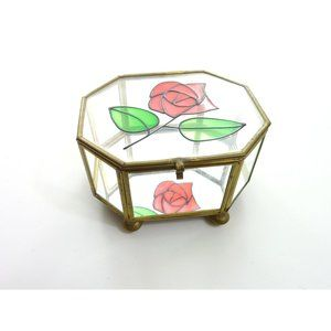 Display Jewelry Box Vintage Stained Glass Rose Lid